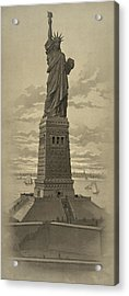 Vintage Statue Of Liberty Acrylic Print by War Is Hell Store