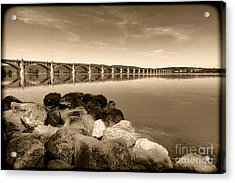 Vintage Susquehanna River Bridge Acrylic Print by Olivier Le Queinec