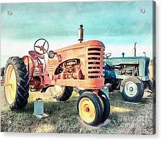 Vintage Tractors Acrylic Acrylic Print by Edward Fielding