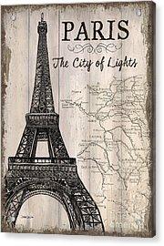 Vintage Travel Poster Paris Acrylic Print by Debbie DeWitt