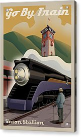 Vintage Union Station Train Poster Acrylic Print by Mitch Frey