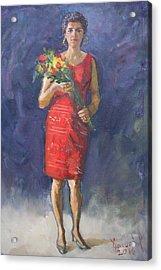 Viola In Red Acrylic Print by Ylli Haruni