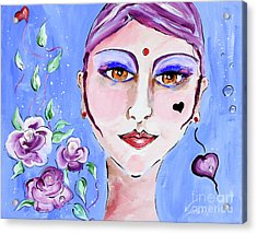 Violeta - Woman Face Art By Valentina Miletic Acrylic Print by Valentina Miletic