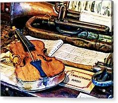 Violin And Bugle Acrylic Print by Susan Savad