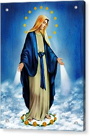 Virgen Milagrosa Acrylic Print by Bibi Romer