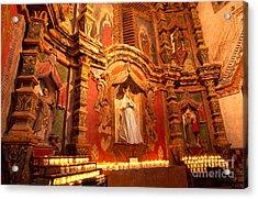 Virgin Mary Statue Candles Mission San Xavier Del Bac Acrylic Print by Thomas R Fletcher