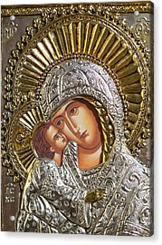 Virgin Mary With Child Jesus Greek Icon Acrylic Print by Jake Hartz