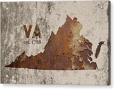 Virginia State Map Industrial Rusted Metal On Cement Wall With Founding Date Series 028 Acrylic Print by Design Turnpike