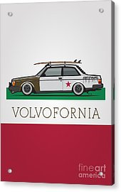 Volvofornia Slammed Volvo 242 240 Coupe California Style Acrylic Print by Monkey Crisis On Mars