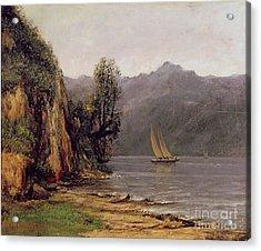 Vue Du Lac Leman Acrylic Print by Gustave Courbet