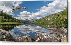 Vulcan Over Lake Acrylic Print by Adrian Evans