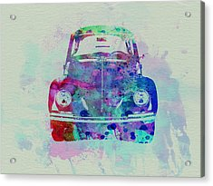 Vw Beetle Watercolor 2 Acrylic Print by Naxart Studio