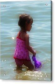 Wading Child Acrylic Print by Lori Seaman