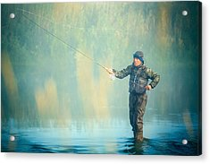 Wading For Trout Acrylic Print by Todd Klassy