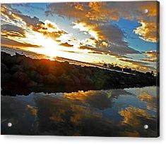 Waikiki Sunset Acrylic Print by Elizabeth Hoskinson