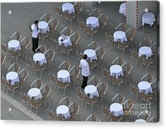 Waiters At Empty Cafe Terrace On Piazza San Marco Acrylic Print by Sami Sarkis