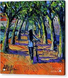 Walk Beneath The Plane Trees Acrylic Print by Mona Edulesco
