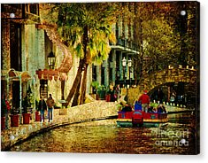 Walking Along The Riverwalk Acrylic Print by Iris Greenwell
