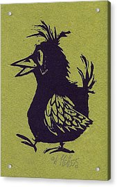 Walking Bird With Green Background Acrylic Print by Barry Nelles Art