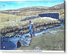 Snow Scenes In Watercolors Acrylic Print featuring the painting Walking On The Yorkshire Dales by David Elliston