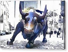 Wall Street Bull New York City Acrylic Print by Dan Sproul
