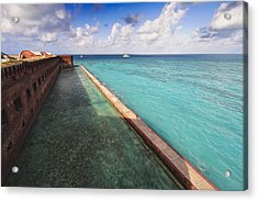 Walls And Moat Of  Fort Jefferson Acrylic Print by George Oze