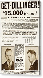 Wanted Poster For John Dillinger Acrylic Print by Everett