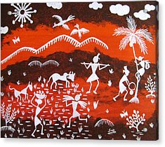Warli Village Scene Acrylic Print by Sowjanya Sreeram