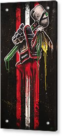 Warrior Glove On Black Acrylic Print by Michael Figueroa