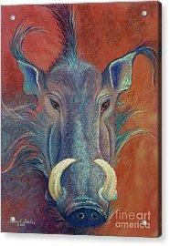Warthog Defiance Acrylic Print by Tracy L Teeter