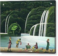 Washing At The Falls Acrylic Print by John Paul Joseph