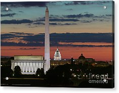 Washington Dc Landmarks At Sunrise I Acrylic Print by Clarence Holmes