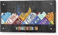 Washington Dc Skyline Recycled Vintage License Plate Art Acrylic Print by Design Turnpike