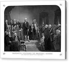 Washington Delivering His Inaugural Address Acrylic Print by War Is Hell Store
