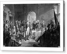 Washington Meeting His Generals Acrylic Print by War Is Hell Store