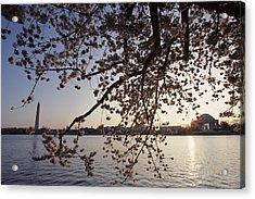 Washington Monument And Jefferson Acrylic Print by Kenneth Garrett