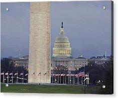 Washington Monument And United States Capitol Buildings - Washington Dc Acrylic Print by Brendan Reals