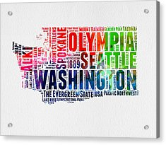 Washington Watercolor Word Cloud Map Acrylic Print by Naxart Studio
