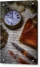 Watch Ink And Glass Pens Acrylic Print by Garry Gay