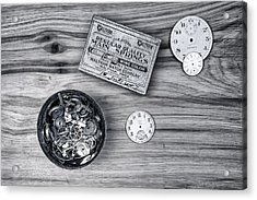 Watch Parts On Wood Still Life Acrylic Print by Tom Mc Nemar