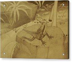 Water Dragon Lizard Acrylic Print by Brian Leverton
