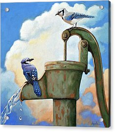 Water Is Life #3 -blue Jays On Water Pump Painting Acrylic Print by Linda Apple