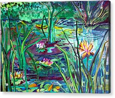 Water Lily Pond Acrylic Print by Mindy Newman