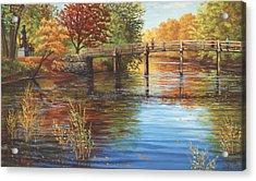 Water Under The Bridge Old North Bridge Ma Acrylic Print by Elaine Farmer