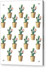 Watercolor Cactus Acrylic Print by Roam  Images