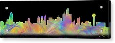 Watercolor Dallas Skyline Art  Acrylic Print by Tod and Cynthia Grubbs