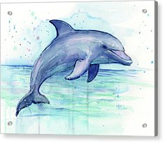 Watercolor Dolphin Painting - Facing Right Acrylic Print by Olga Shvartsur