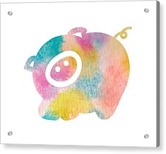 Watercolor Nursery Print - Cute Pig Acrylic Print by Nursery Art