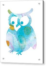 Watercolor Owl Acrylic Print by Nursery Art