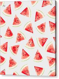 Watercolor Watermelon Pattern Acrylic Print by Uma Gokhale